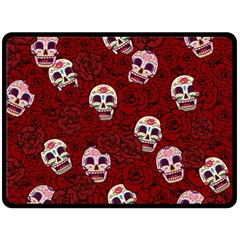 Funny Skull Rosebed Double Sided Fleece Blanket (large)