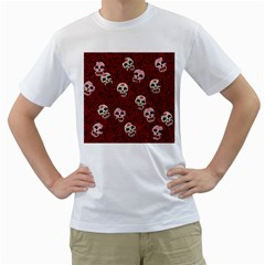 Funny Skull Rosebed Men s T Shirt (white)