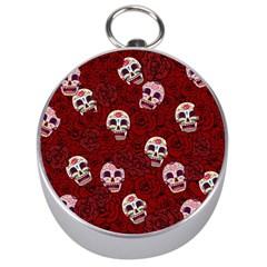 Funny Skull Rosebed Silver Compasses
