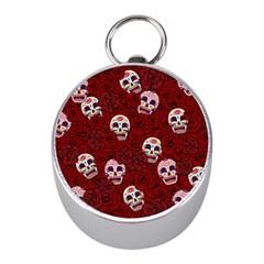 Funny Skull Rosebed Mini Silver Compasses