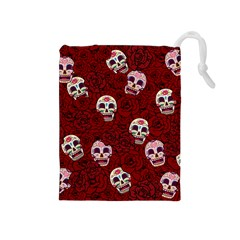 Funny Skull Rosebed Drawstring Pouches (medium)