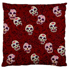 Funny Skull Rosebed Large Flano Cushion Case (two Sides)