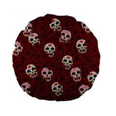 Funny Skull Rosebed Standard 15  Premium Flano Round Cushions