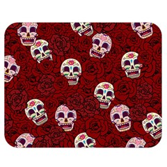 Funny Skull Rosebed Double Sided Flano Blanket (medium)  by designworld65