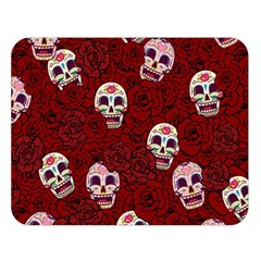 Funny Skull Rosebed Double Sided Flano Blanket (large)  by designworld65