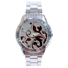 Floral Pattern Stainless Steel Analogue Watch by Valentinaart