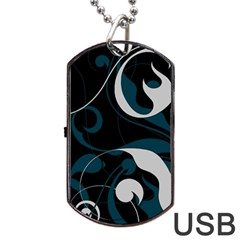 Floral Pattern Dog Tag Usb Flash (one Side) by Valentinaart