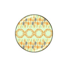 Ethnic Orange Pattern Hat Clip Ball Marker by linceazul