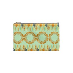 Ethnic Orange Pattern Cosmetic Bag (small)  by linceazul