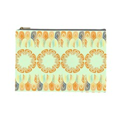Ethnic Orange Pattern Cosmetic Bag (large)  by linceazul