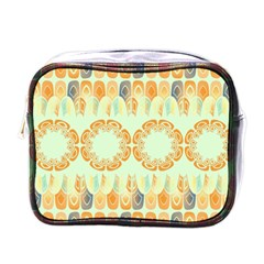Ethnic Orange Pattern Mini Toiletries Bags by linceazul
