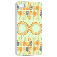 Ethnic Orange Pattern Apple Iphone 4/4s Seamless Case (white) by linceazul