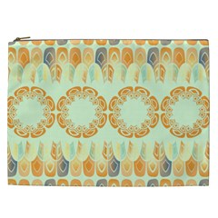 Ethnic Orange Pattern Cosmetic Bag (xxl)  by linceazul