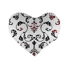 Ornament  Standard 16  Premium Flano Heart Shape Cushions by Valentinaart