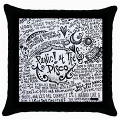 Panic! At The Disco Lyric Quotes Throw Pillow Case (black) by Onesevenart