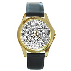 Panic! At The Disco Lyric Quotes Round Gold Metal Watch by Onesevenart