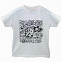 Panic! At The Disco Lyric Quotes Kids White T Shirts by Onesevenart