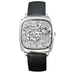 Panic! At The Disco Lyric Quotes Square Metal Watch by Onesevenart