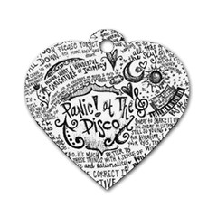 Panic! At The Disco Lyric Quotes Dog Tag Heart (one Side) by Onesevenart
