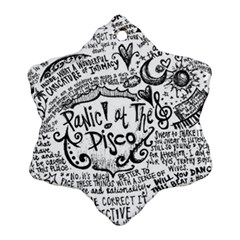 Panic! At The Disco Lyric Quotes Snowflake Ornament (two Sides) by Onesevenart