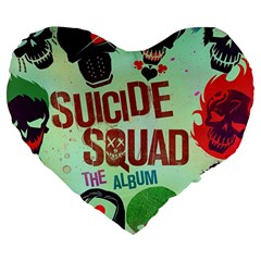 Panic! At The Disco Suicide Squad The Album Large 19  Premium Flano Heart Shape Cushions by Onesevenart
