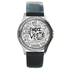 Pierce The Veil Music Band Group Fabric Art Cloth Poster Round Metal Watch by Onesevenart
