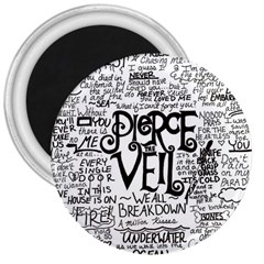 Pierce The Veil Music Band Group Fabric Art Cloth Poster 3  Magnets by Onesevenart