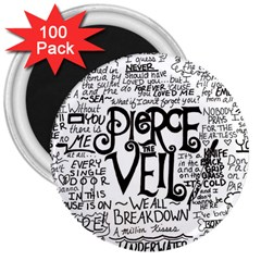 Pierce The Veil Music Band Group Fabric Art Cloth Poster 3  Magnets (100 Pack) by Onesevenart