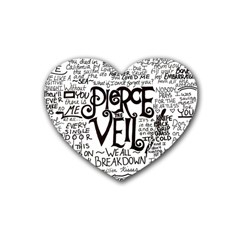 Pierce The Veil Music Band Group Fabric Art Cloth Poster Rubber Coaster (heart)  by Onesevenart