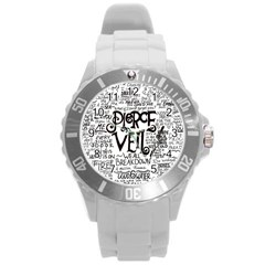 Pierce The Veil Music Band Group Fabric Art Cloth Poster Round Plastic Sport Watch (l) by Onesevenart