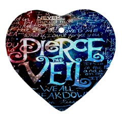 Pierce The Veil Quote Galaxy Nebula Heart Ornament (two Sides) by Onesevenart