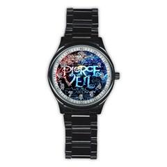 Pierce The Veil Quote Galaxy Nebula Stainless Steel Round Watch by Onesevenart