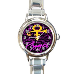 Prince Poster Round Italian Charm Watch by Onesevenart