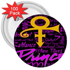 Prince Poster 3  Buttons (100 Pack)  by Onesevenart