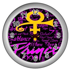 Prince Poster Wall Clocks (silver)  by Onesevenart