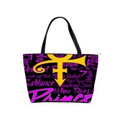 Prince Poster Shoulder Handbags by Onesevenart