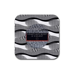 Sometimes Quiet Is Violent Twenty One Pilots The Meaning Of Blurryface Album Rubber Square Coaster (4 Pack)  by Onesevenart