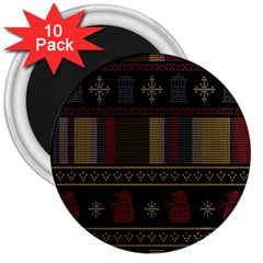 Tardis Doctor Who Ugly Holiday 3  Magnets (10 Pack)  by Onesevenart