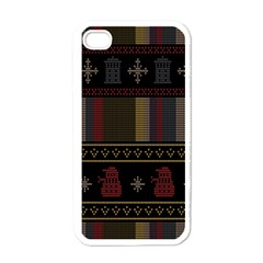 Tardis Doctor Who Ugly Holiday Apple Iphone 4 Case (white) by Onesevenart