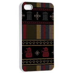 Tardis Doctor Who Ugly Holiday Apple Iphone 4/4s Seamless Case (white) by Onesevenart