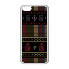Tardis Doctor Who Ugly Holiday Apple Iphone 5c Seamless Case (white) by Onesevenart