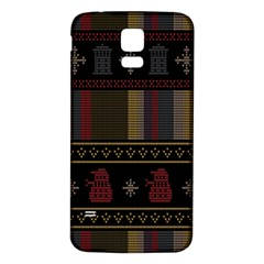 Tardis Doctor Who Ugly Holiday Samsung Galaxy S5 Back Case (white) by Onesevenart