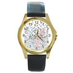 Twenty One Pilots Birds Round Gold Metal Watch by Onesevenart