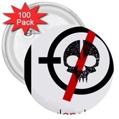 Twenty One Pilots Skull 3  Buttons (100 Pack)  by Onesevenart