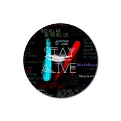 Twenty One Pilots Stay Alive Song Lyrics Quotes Rubber Round Coaster (4 Pack)  by Onesevenart