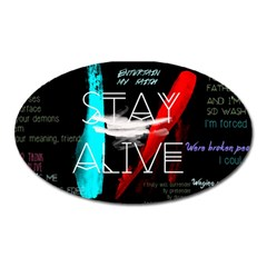 Twenty One Pilots Stay Alive Song Lyrics Quotes Oval Magnet by Onesevenart