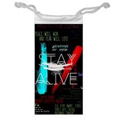 Twenty One Pilots Stay Alive Song Lyrics Quotes Jewelry Bag by Onesevenart