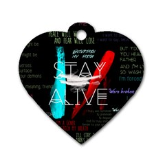 Twenty One Pilots Stay Alive Song Lyrics Quotes Dog Tag Heart (one Side) by Onesevenart