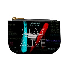 Twenty One Pilots Stay Alive Song Lyrics Quotes Mini Coin Purses by Onesevenart