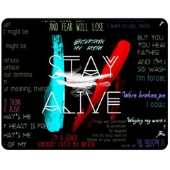 Twenty One Pilots Stay Alive Song Lyrics Quotes Fleece Blanket (medium)  by Onesevenart